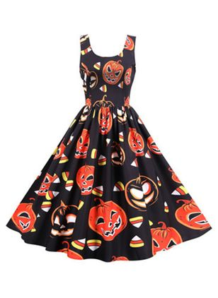 Halloween Color Block Round Neckline Midi X-line Dress (109973580)