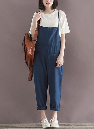 Cotton Linen Solid Sleeveless Casual Backless Jumpsuits & Rompers