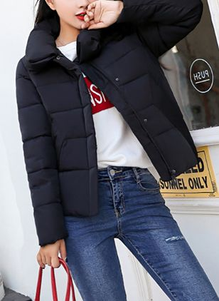 Long Sleeve High Neckline Padded Coats