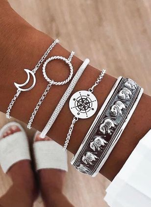 Casual Moon No Stone Bangle Bracelets (6211666)