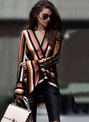 Color Block Arabian V-Neckline Long Sleeve Blouses