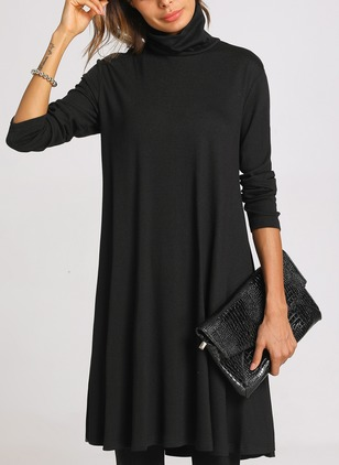 Solid High Neckline Long Sleeve Knee-Length A-line Dress