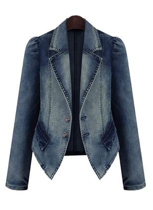 Long Sleeve Lapel Denim Jackets