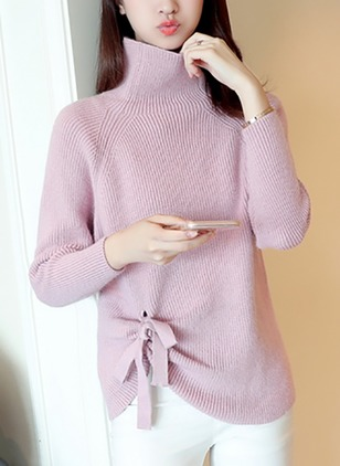 Cotton High Neckline Solid Loose Others Sweaters