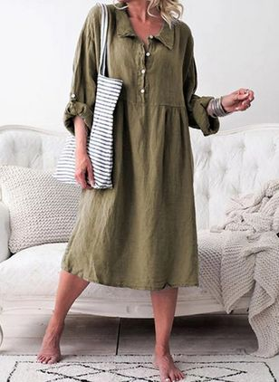 Casual Solid Tunic Collar A-line Dress (1525248)