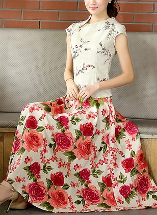 Cotton Floral Mid-Calf Casual None Skirts