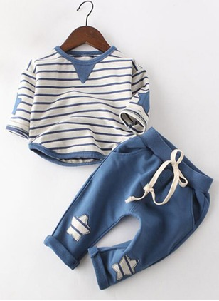 Boys' Stripe Daily Long Sleeve Clothing Sets