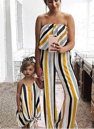Mommy and Me Stripe Casual Sleeveless Family Outfits (4048230)