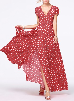 Boho Polka Dot Others V-Neckline A-line Dress (1103175)