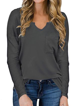 Solid V-Neckline Long Sleeve Casual T-shirts (100002347)