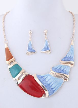 Geometric Crystal Necklace Earring Jewelry Sets (101398838)