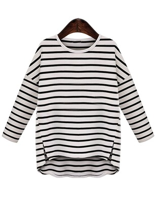 Cotton Stripe Round Neck Long Sleeve Casual T-shirts