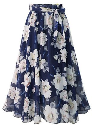 Floral Mid-Calf Casual Sashes Skirts (1503072)
