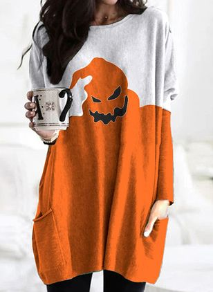 Halloween Color Block Tunic Round Neckline Shift Dress (111323596)
