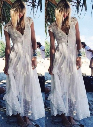 Solid Embroidery Peasant Maxi Shift Dress
