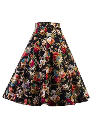 Cotton Floral Knee-Length Casual None Skirts