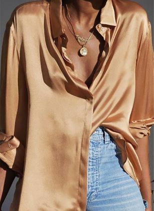 Solid Casual V-Neckline Long Sleeve Blouses (100447139)