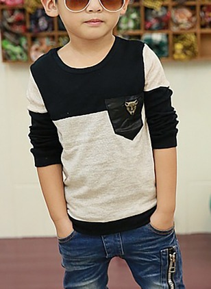 Boys' Color Block Round Neckline Long Sleeve Tops
