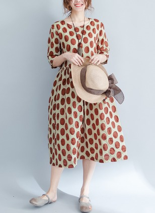 Cotton Polka Dot Half Sleeve Midi Shift Dress