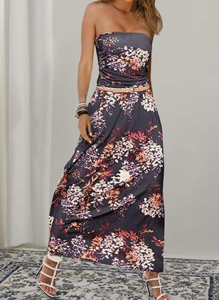 Casual Floral Off the Shoulder Maxi X-line Dress (147019986)