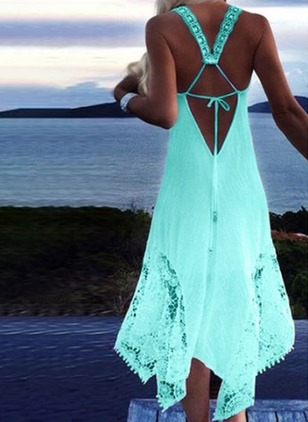 Polyester Halter Solid Cross Knotted Cover-Ups Swimwear