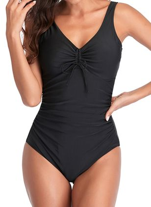 Spandex Solid One-piece Swimwear (147056913)