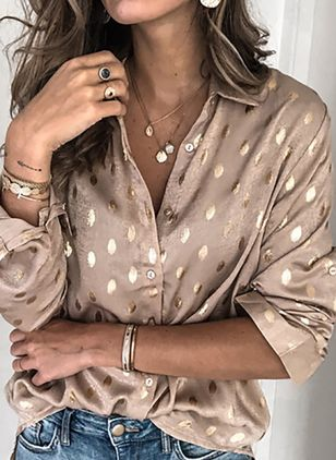 Polka Dot Casual Collar Long Sleeve Blouses (106587003)
