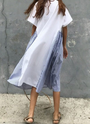 Cotton Stripe Short Sleeve Midi Shift Dress