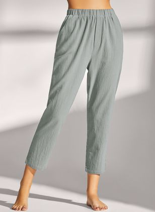 Casual Straight Pockets Mid Waist Cotton Pants (146904611)