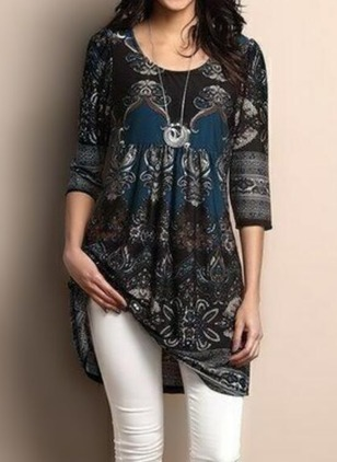 Floral Polyester Round Neckline 3/4 Sleeves Blouses