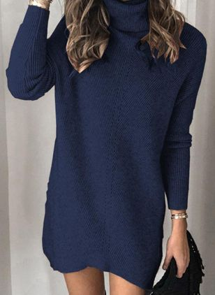 Casual Solid Tunic High Neckline Shift Dress (107562029)