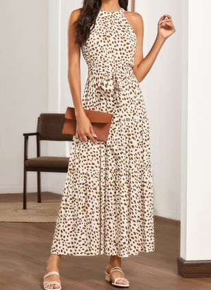 Chic Polka Dot Halter Neckline Maxi X-line Dress (1537450)