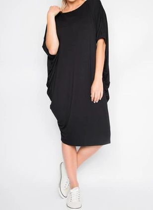 Casual Solid Tunic V-Neckline O Dress (4663402)