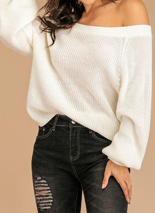 Off the Shoulder Solid Casual Loose Regular Shift Sweaters (107250976)