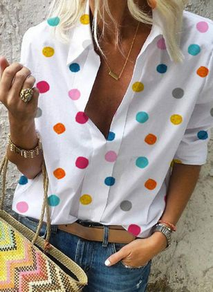 Polka Dot Casual Collar Long Sleeve, Blouses