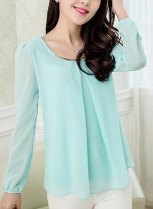 Solid Round Neckline Long Sleeve Blouses