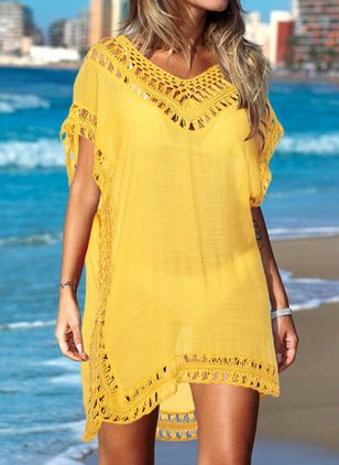 Polyester Solid Mesh Cover-Ups Swimwear (147192991)
