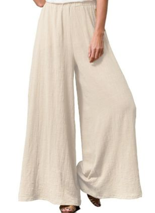Casual Loose High Waist Cotton Blends Pants (4043363)