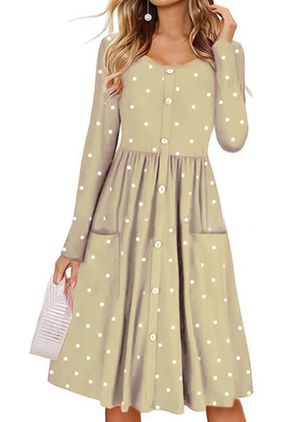 Polka Dot Pockets Long Sleeve Knee-Length Dress