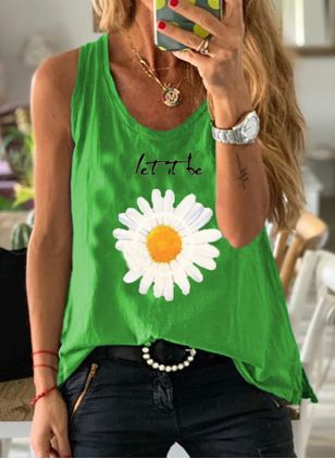 Floral Round Neck Sleeveless Casual T-shirts (4037755)