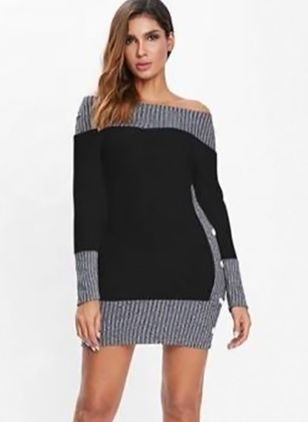 Color Block Buttons Sweater Above Knee Bodycon Dress