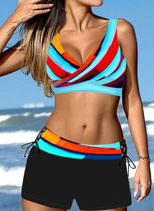 Polyester Color Block Knotted Bikinis Swimwear (146946107)