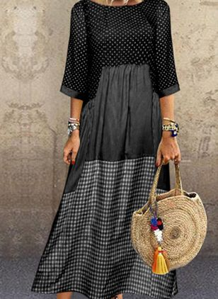 Plus Size Casual Polka Dot Tunic Round Neckline A-line Dress (4355584)