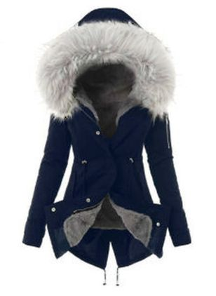 Long Sleeve Hooded Sashes Buttons Removable Fur Collar Coats (1424376)