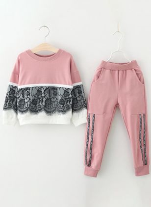 Girls' Casual Patchwork Sports Long Sleeve Clothing Sets