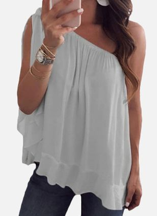 Solid Casual Oblique Neckline Sleeveless Blouses (4037461)