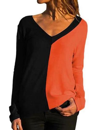 Color Block V-Neckline Long Sleeve Casual T-shirts (5502126)