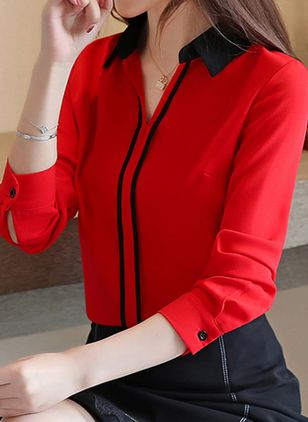 Color Block Elegant Collar Long Sleeve Blouses (1357343)