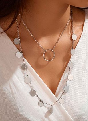 Casual Round No Stone Pendant Necklaces (4126744)