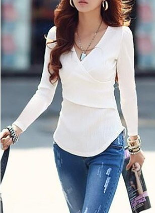 Cotton Solid V-Neckline Long Sleeve Sexy T-shirts